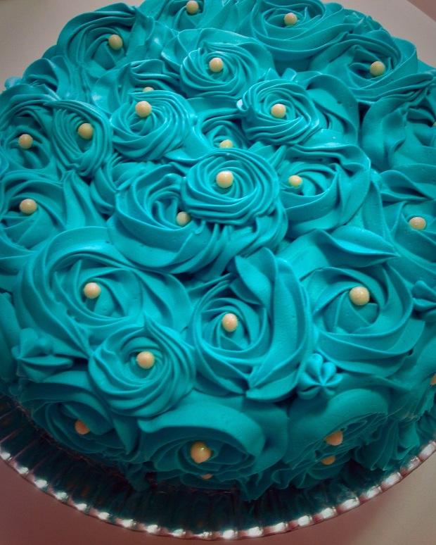 Bolo Rosette Rosa Cake Blue Tiffany Azul