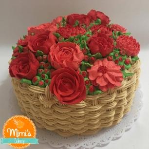 Cesta de Flores Rosas e Vermelhas