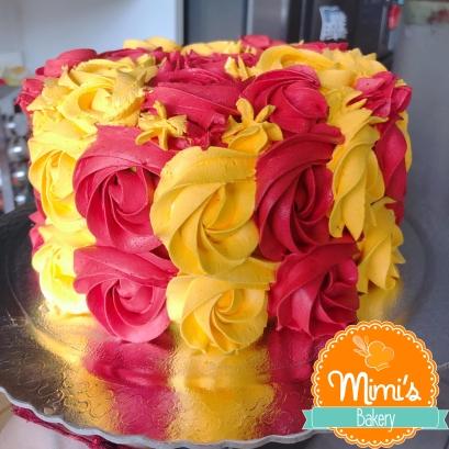 Rosette Cake: Vermelho e Amarelo