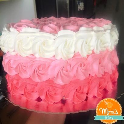Rosette Cake degradê rosa com branco
