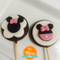 Pirulito de Chocolate Decorado Minnie Rosa