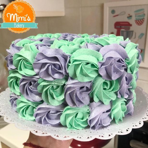 Rosette Cake Verde e Lilás